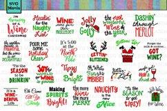 Funny Christmas Wine Glass SVG File Bundle, Holiday Wine SVG Product Image 1