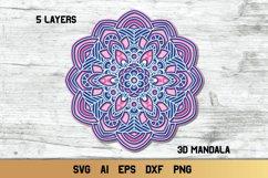 Mandala SVG 3d Layered | Multi Layer SVG | Floral Cut File Product Image 1