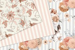Peachy Floral Digital Paper Product Image 5