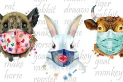 Watercolor animals in protective mask Product Image 5
