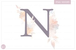 MONOGRAM Letter N Elegant Floral Monogram - Flower alphabet Product Image 1