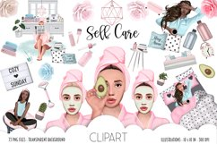 SELF CARE Clipart, Stay Home Fashion Illustration Product Image 1