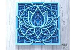 M136 - Lotus Flower Mandala, Shadow Box Mandala SVG DXF Product Image 4