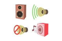 Speaker icon set, cartoon style Product Image 1