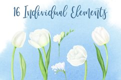 Watercolor white tulips and freesias Product Image 3