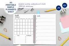 Undated montly and weekly planner's sheets. Simple dotted A5 Product Image 1