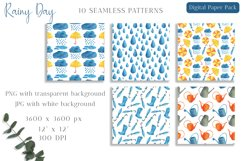 Watercolor Rain Digital Paper Pack. Spring Seamless Patterns Product Image 2