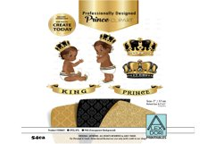 Black and Gold Baby Prince/King Royal Digital Clipart,Crown Product Image 1