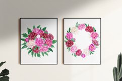 Watercolor peonies.Floral clipart.Pink,burgundy,white peony Product Image 6