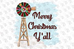 Christmas Windmill Merry Christmas Y'all Farm Clipart Product Image 1