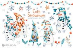 Cute Xmas naive Snowman Christmas watercolor nursery clipart Product Image 1