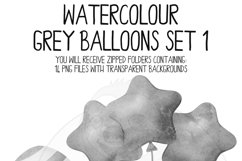 Grey Watercolor Balloon Clipart Set Product Image 4