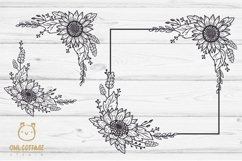 SUNFLOWERS BIG BUNDLE SVG, Floral borders and monograms Product Image 5