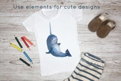 Ocean animals watercolor clipart Product Image 4