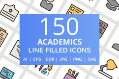 150 Academics Filled Line Icons Product Image 1