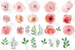 Blush watercolor floral wedding clip art, pink flowers leafs Product Image 4