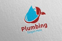 Eco Plumbing Logo with Water and Fix Home Concept 48 Product Image 5