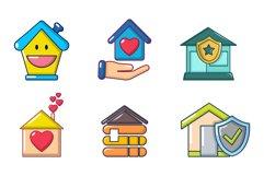 House icon set, cartoon style Product Image 1