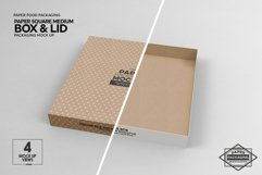 Medium Square Paper Box and Lid Packaging Mockup Product Image 2