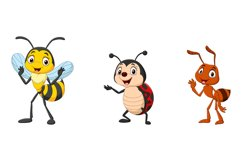 Set of Six Cartoon Insect Character Product Image 2