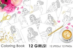 Coloring Book GIRLS for digital or print use 12 JPEG files Product Image 1