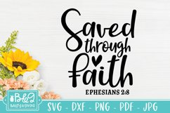 Saved Through Faith Bible Verse SVG - Christian Saying SVG Product Image 2