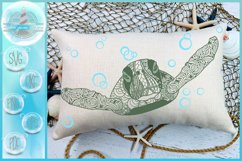 Sea Turtle Mandala Swimming with Bubbles SVG Product Image 1