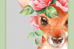 Fawn with pink roses. Clipart Product Image 3