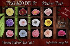 Peonies Sticker Pack of 13 PNG Clip Art Sublimation 300dpi Product Image 1