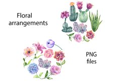 Watercolor Cactus and Flowers Clipart. Product Image 5