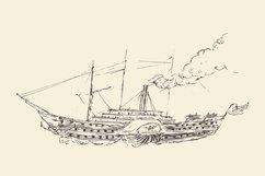 Set of engraved style ships Product Image 2