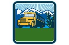 School Bus Cactus Mountains Square Retro Product Image 1