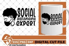 Social Distancing Expert svg, Black Woman with Mask svg Product Image 2