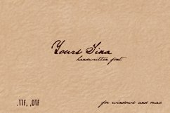 Handwritten pen and ink font. Yours Tina Product Image 1