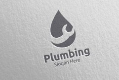 Plumbing Logo with Water and Fix Home Concept 42 Product Image 3