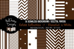 16 seamless Digital Papers - Chocolat and White- HC151 Product Image 1