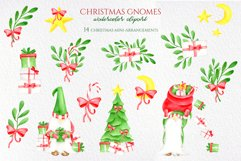 Watercolor Christmas Gnomes PNG clipart collection Product Image 4