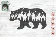 Bear SVG, Bear Silhouette SVG, Mountain Scene SVG Cut File Product Image 1