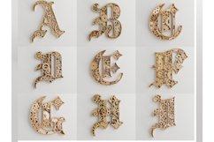 Layered Alphabet -5 layers -SteamPunk Alphabet -laser cut Product Image 3