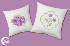 Purple roses, Wedding clipart, shabby chic, Purple Roses clipart, Bridal Shower, Flower Embellishments,lipart, graphics and illustrations AMB-1030 Product Image 3