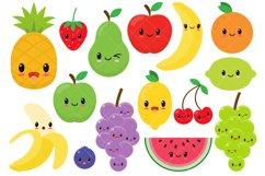 Kawaii Fruit / Cute Fruit Clipart / Happy Fruit Clip Art Product Image 1