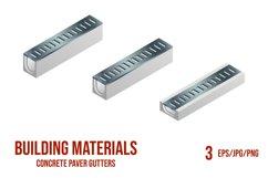 Set of vector illustrations concrete paver gutters. Product Image 1