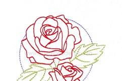 Floral Circle Rose Outline Machine Embroidery Design Product Image 6