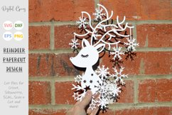 Christmas Reindeer paper cut SVG DXF EPS files Product Image 2