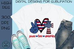 Peace Love America Patriotic Sublimation Design Product Image 1