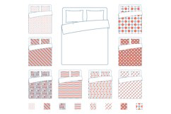 Linen and bedding, duvet vector textile patterns template Product Image 1