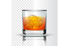 Realistic Glass With Bourbon And Ice Cubes Vector Product Image 1