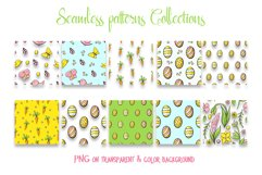 Hand drawn Easter seamless patterns png and clip art set Product Image 3