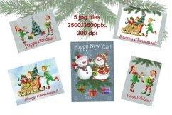 Elf kit watercolor,Christmas clipart,Santa's Helpers Png,jpg Product Image 3