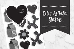 Black| Color Asthetic Stickers Product Image 1